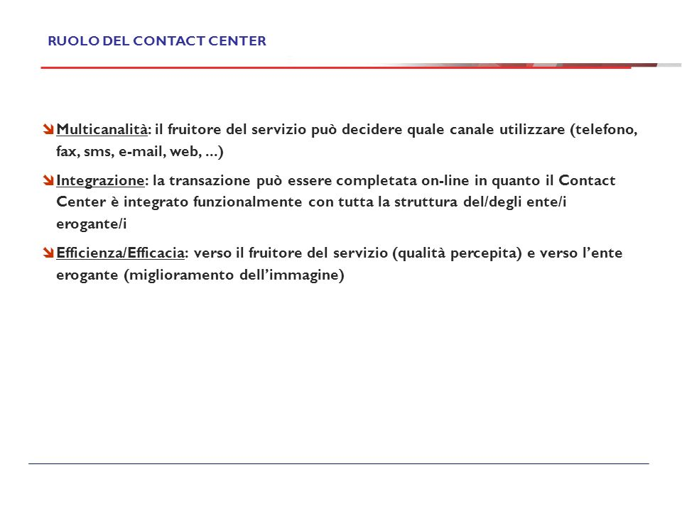 RUOLO DEL CONTACT CENTER