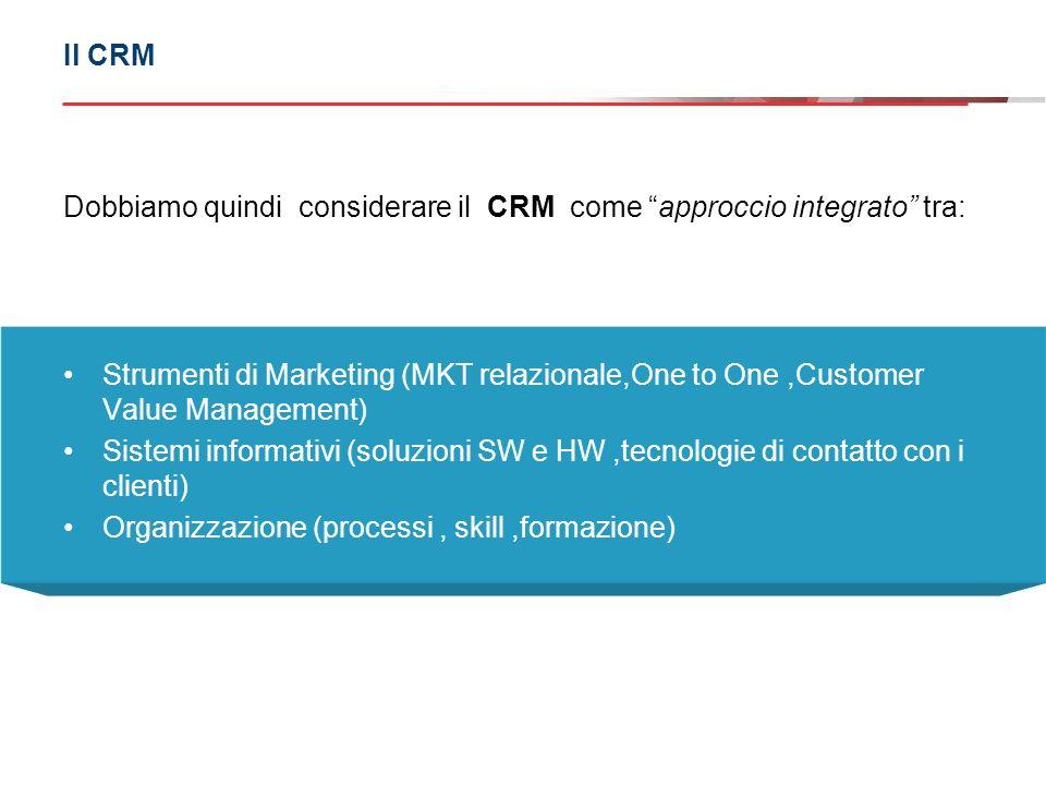 Dobbiamo quindi considerare il CRM come approccio integrato tra: