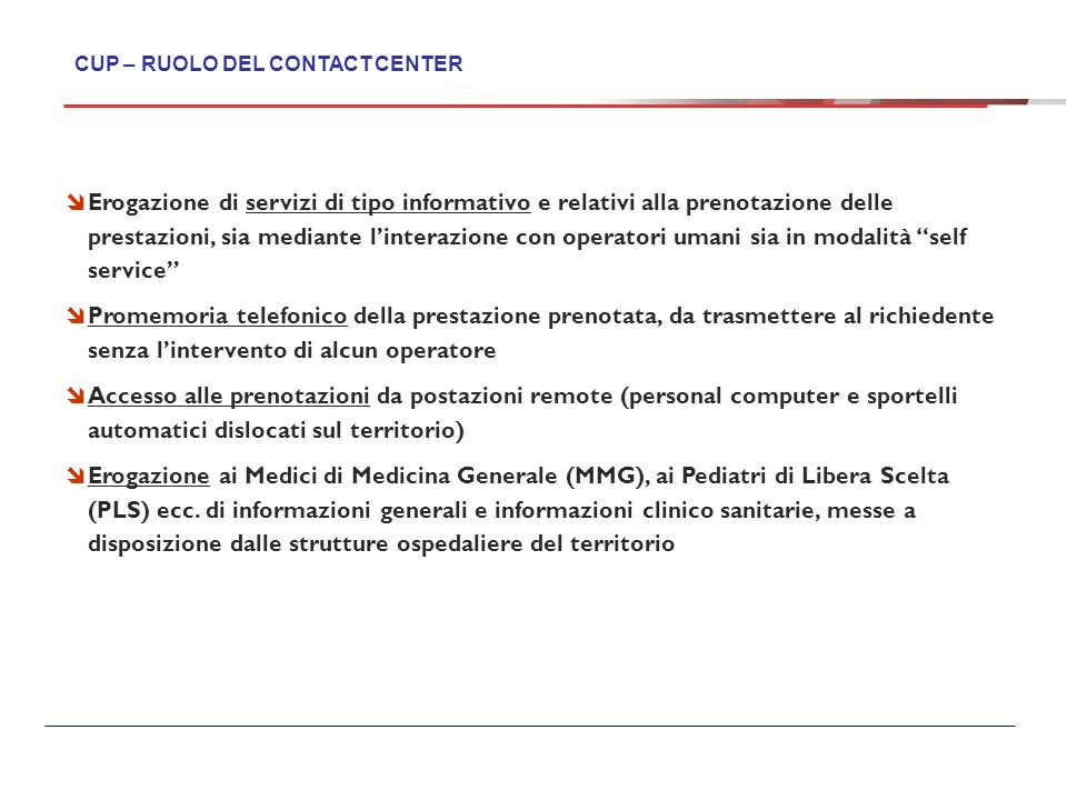 CUP – RUOLO DEL CONTACT CENTER