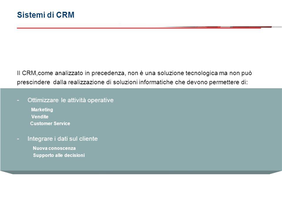 Sistemi di CRM Il CRM,come analizzato in precedenza, non è una soluzione tecnologica ma non può.