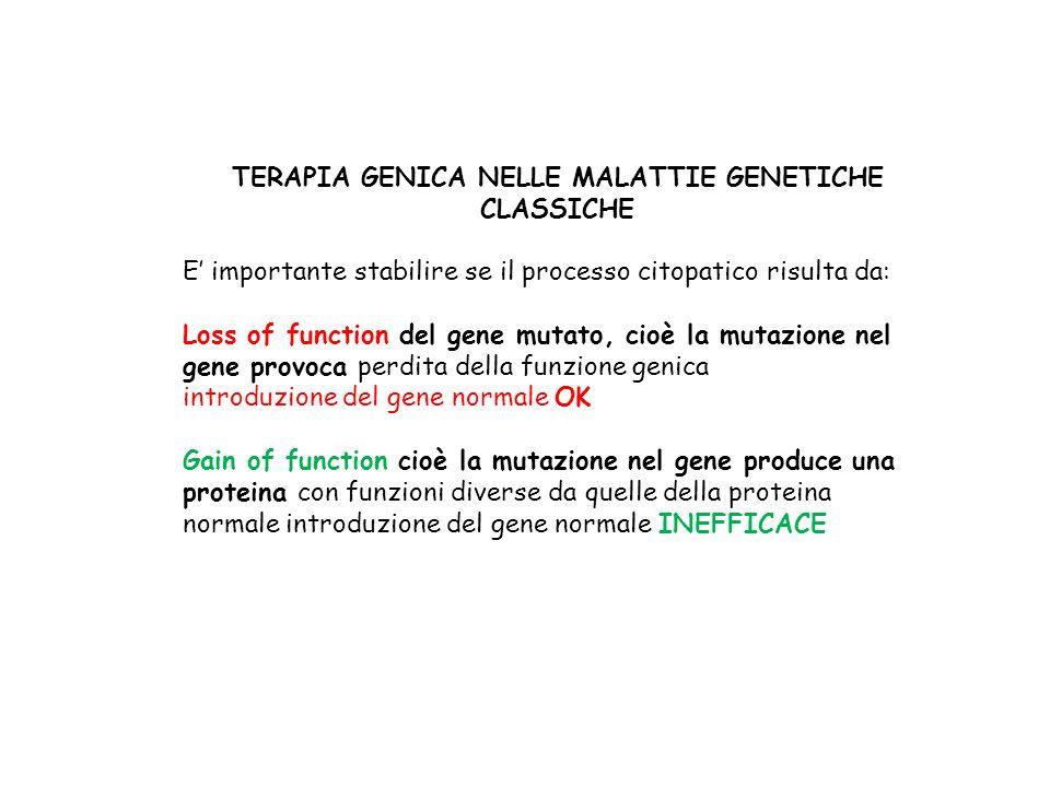 TERAPIA GENICA NELLE MALATTIE GENETICHE CLASSICHE