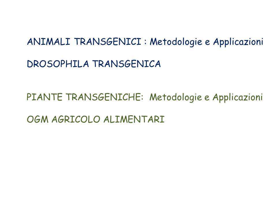ANIMALI TRANSGENICI : Metodologie e Applicazioni