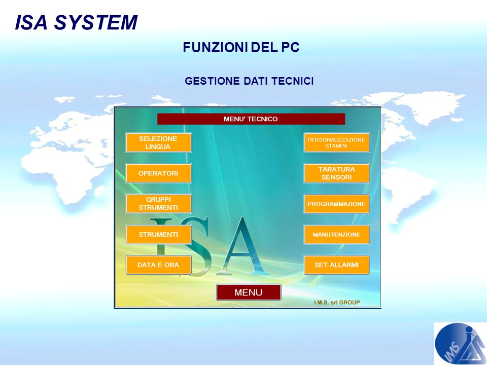 ISA SYSTEM FUNZIONI DEL PC GESTIONE DATI TECNICI