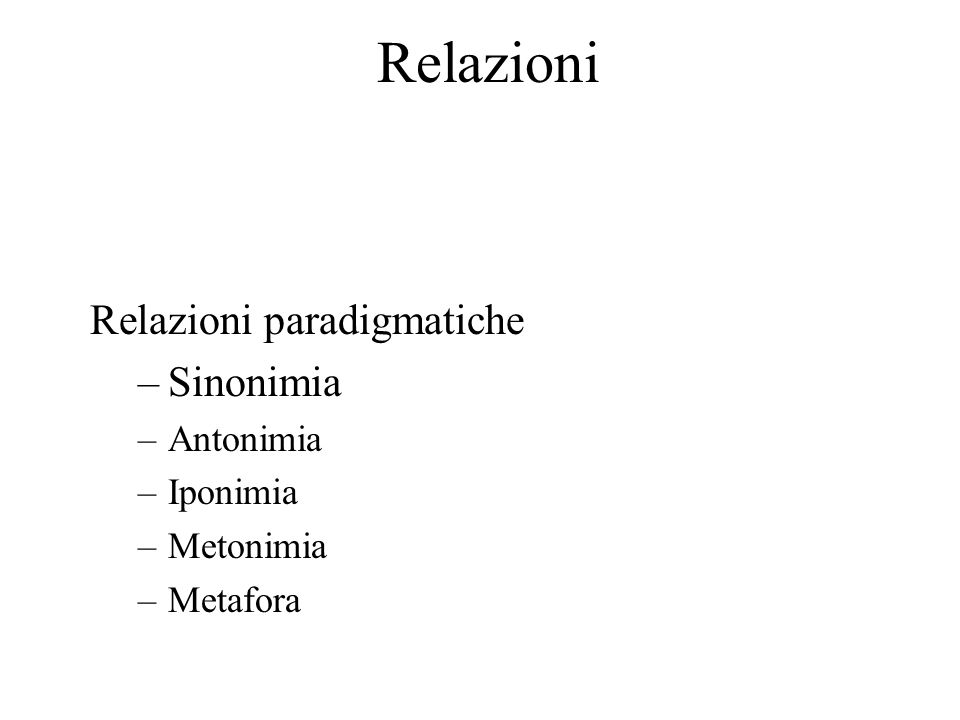 Relazioni Relazioni paradigmatiche Sinonimia Antonimia Iponimia
