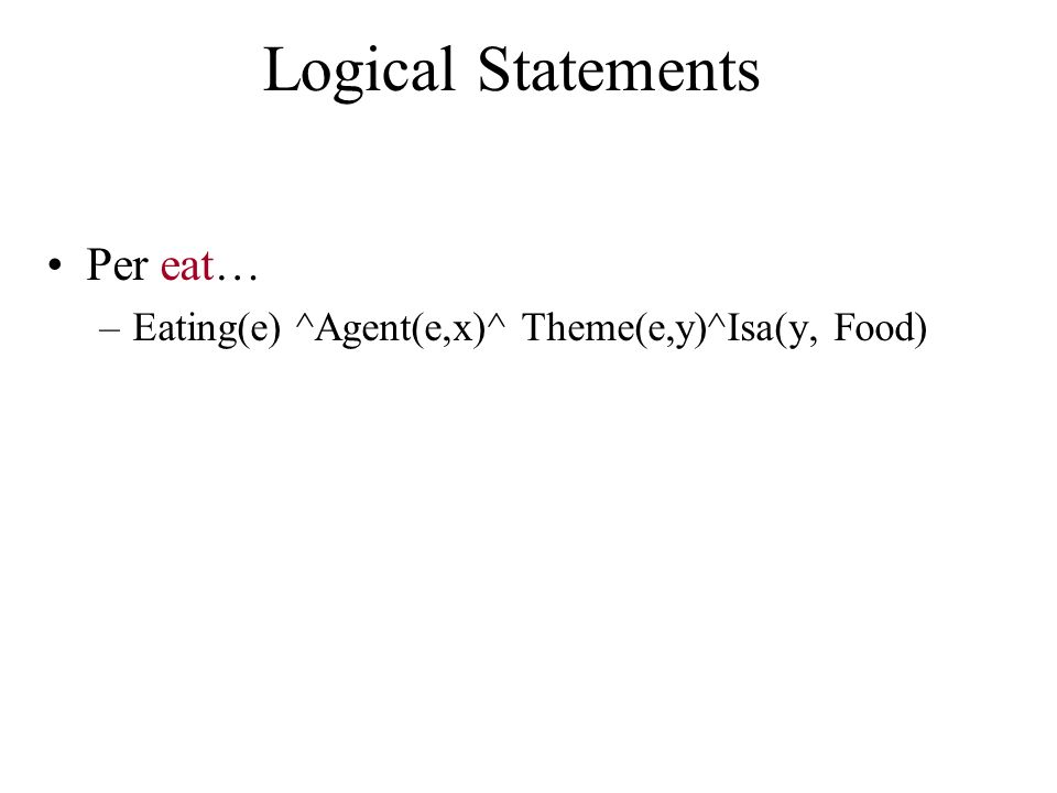 Logical Statements Per eat…