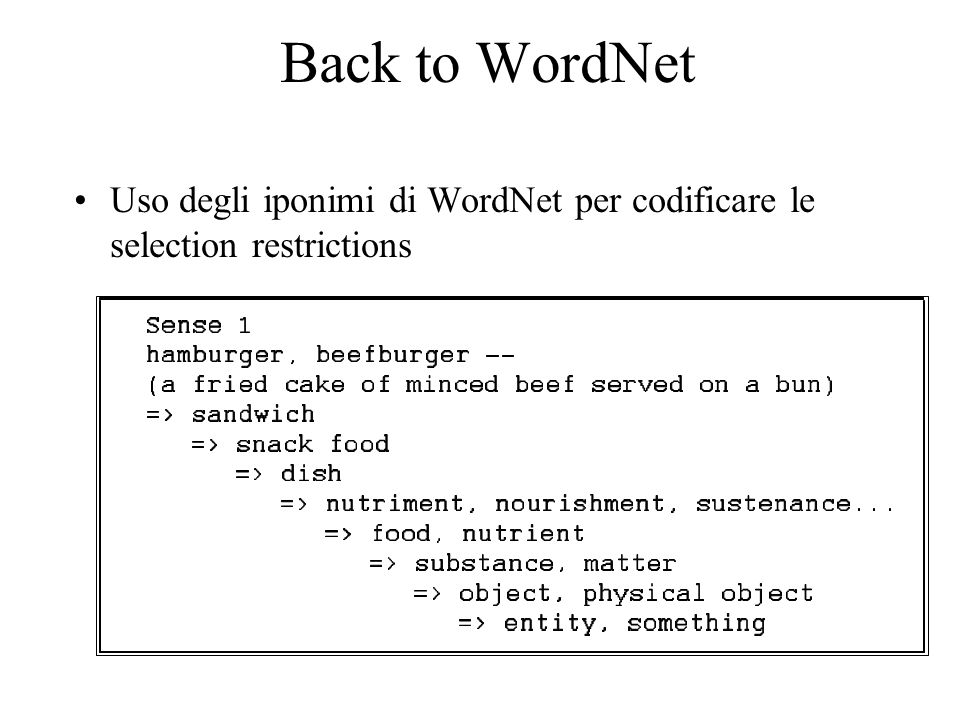 Back to WordNet Uso degli iponimi di WordNet per codificare le selection restrictions