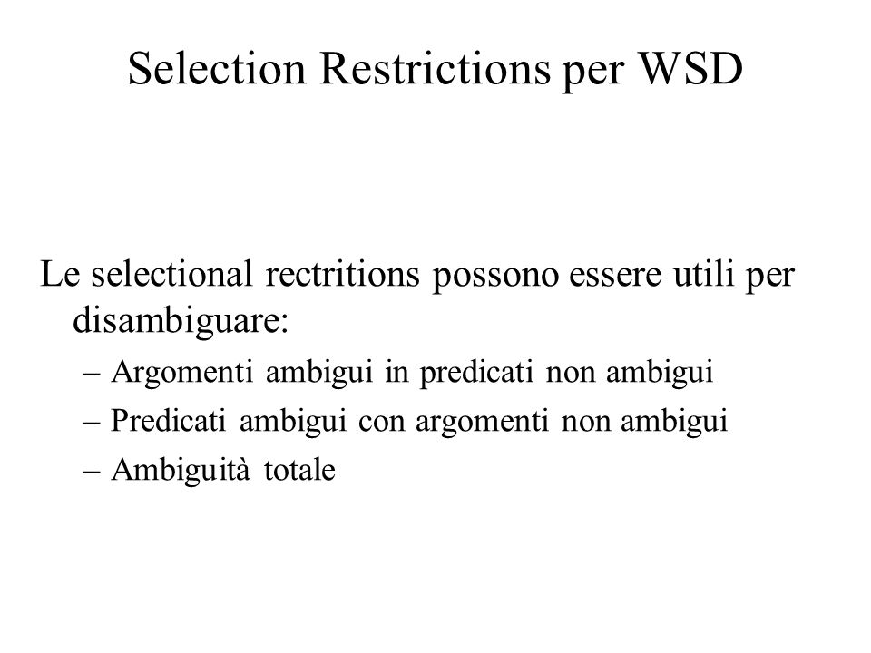 Selection Restrictions per WSD