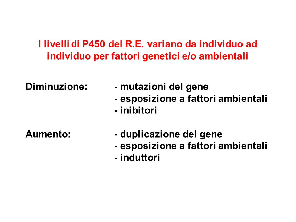 I livelli di P450 del R.E. variano da individuo ad individuo per fattori genetici e/o ambientali