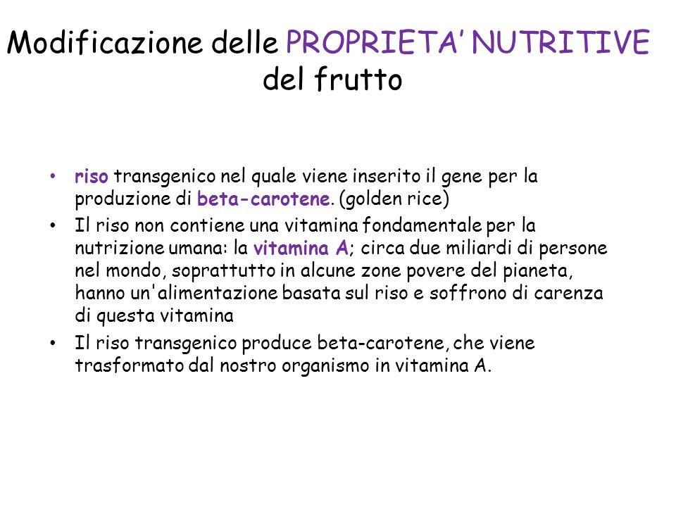Modificazione delle PROPRIETA' NUTRITIVE