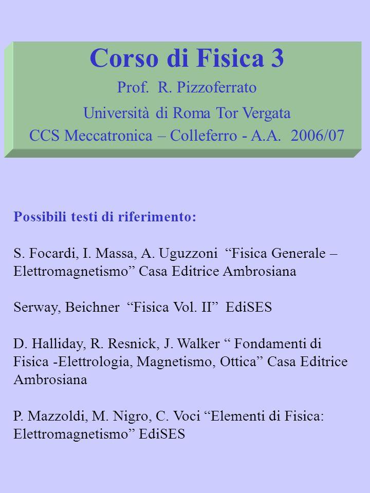 Corso di Fisica 3 Prof. R. Pizzoferrato Università di Roma Tor Vergata