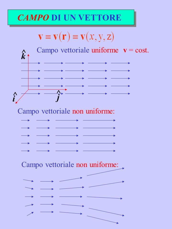 CAMPO DI UN VETTORE k ^ j i Campo vettoriale uniforme v = cost.