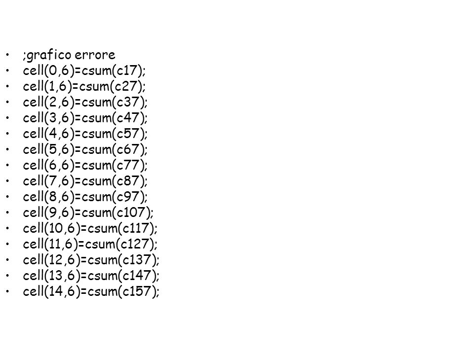 ;grafico errore cell(0,6)=csum(c17); cell(1,6)=csum(c27); cell(2,6)=csum(c37); cell(3,6)=csum(c47);