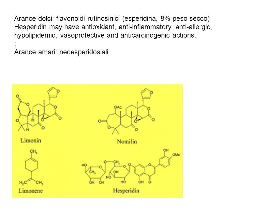 Arance dolci: flavonoidi rutinosinici (esperidina, 8% peso secco)