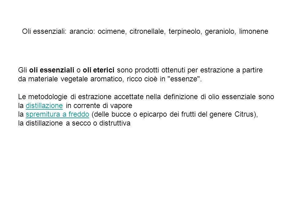Oli essenziali: arancio: ocimene, citronellale, terpineolo, geraniolo, limonene