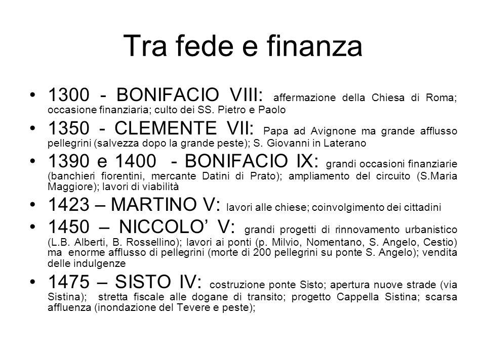 Tra fede e finanza1300 - BONIFACIO VIII: affermazione della Chiesa di Roma; occasione finanziaria; culto dei SS. Pietro e Paolo.