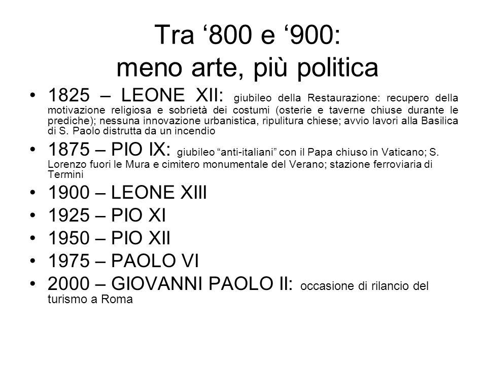 Tra '800 e '900: meno arte, più politica