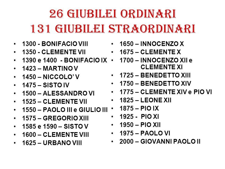 26 giubilei ordinari 131 giubilei straordinari