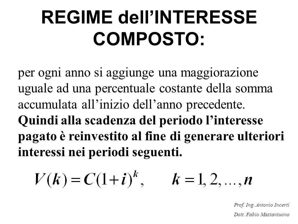 REGIME dell'INTERESSE COMPOSTO: