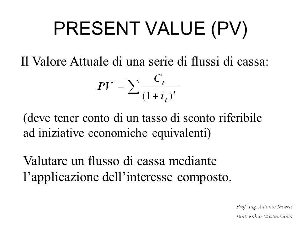 PRESENT VALUE (PV) Il Valore Attuale di una serie di flussi di cassa: