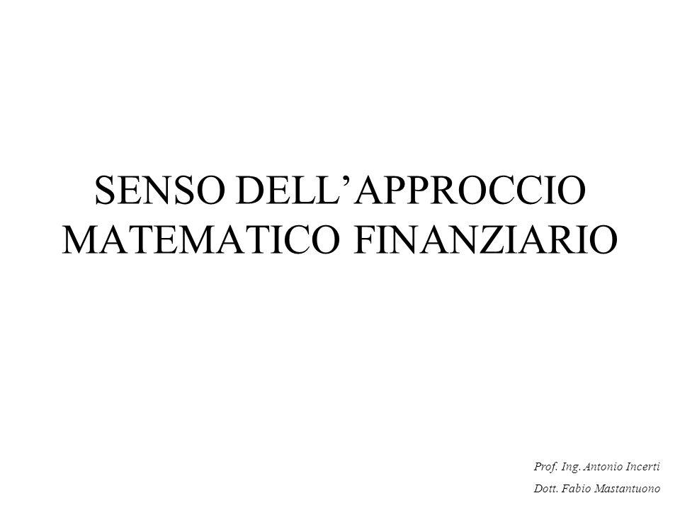 SENSO DELL'APPROCCIO MATEMATICO FINANZIARIO