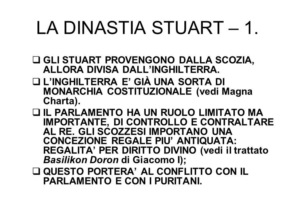 LA DINASTIA STUART – 1. GLI STUART PROVENGONO DALLA SCOZIA, ALLORA DIVISA DALL'INGHILTERRA.