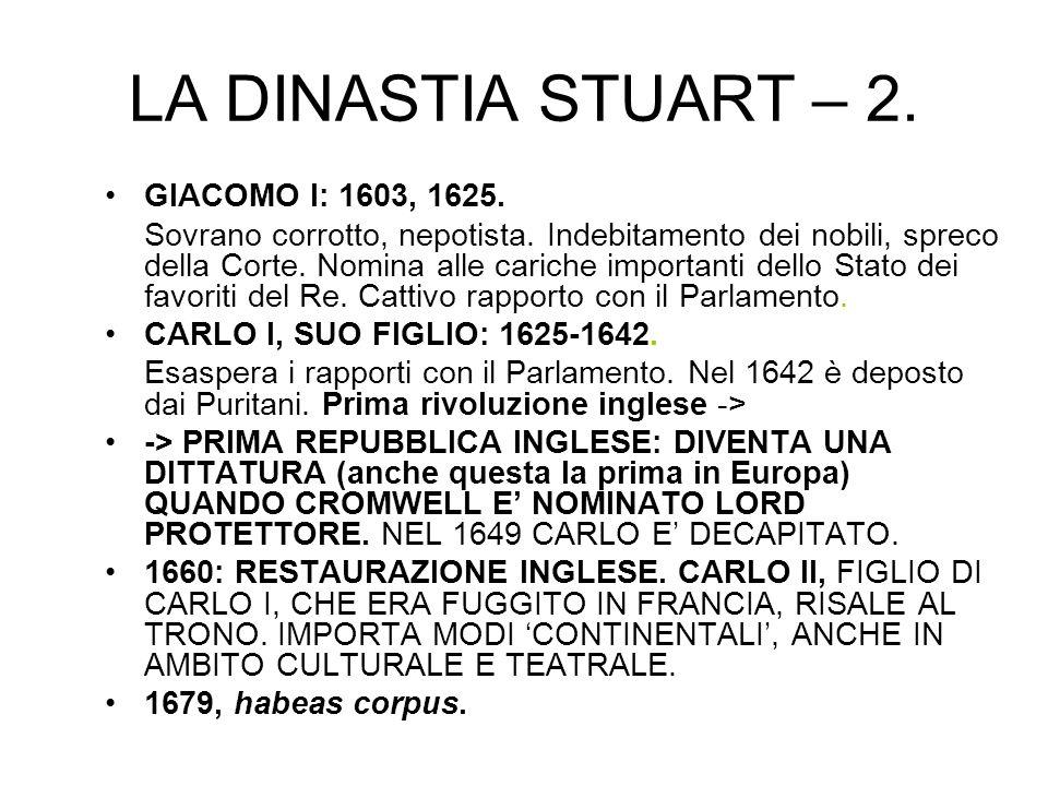 LA DINASTIA STUART – 2. GIACOMO I: 1603, 1625.