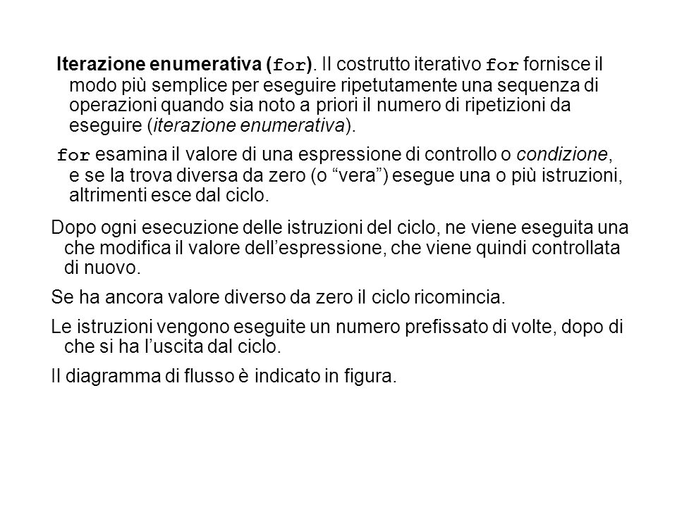 Iterazione enumerativa (for)