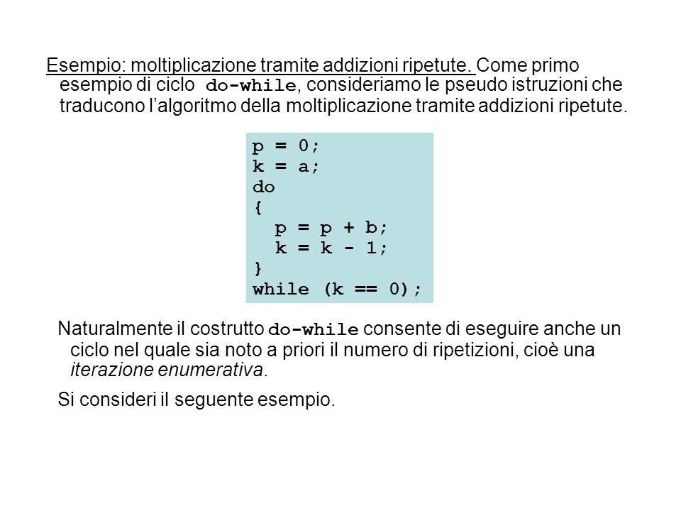 Esempio: moltiplicazione tramite addizioni ripetute
