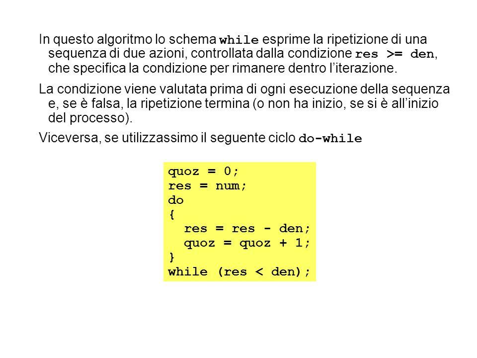 In questo algoritmo lo schema while esprime la ripetizione di una sequenza di due azioni, controllata dalla condizione res >= den, che specifica la condizione per rimanere dentro l'iterazione.