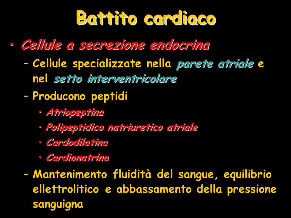 Battito cardiaco Cellule a secrezione endocrina