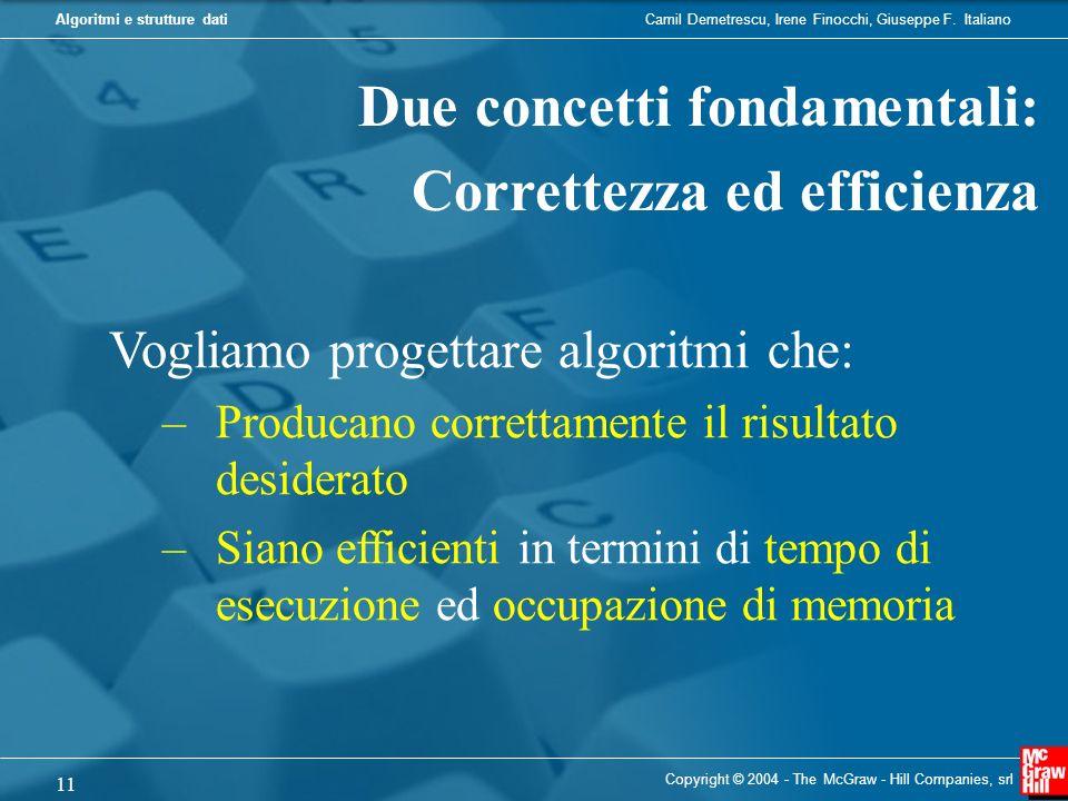 Due concetti fondamentali: Correttezza ed efficienza