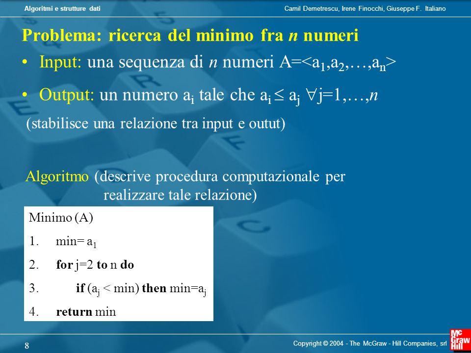Problema: ricerca del minimo fra n numeri
