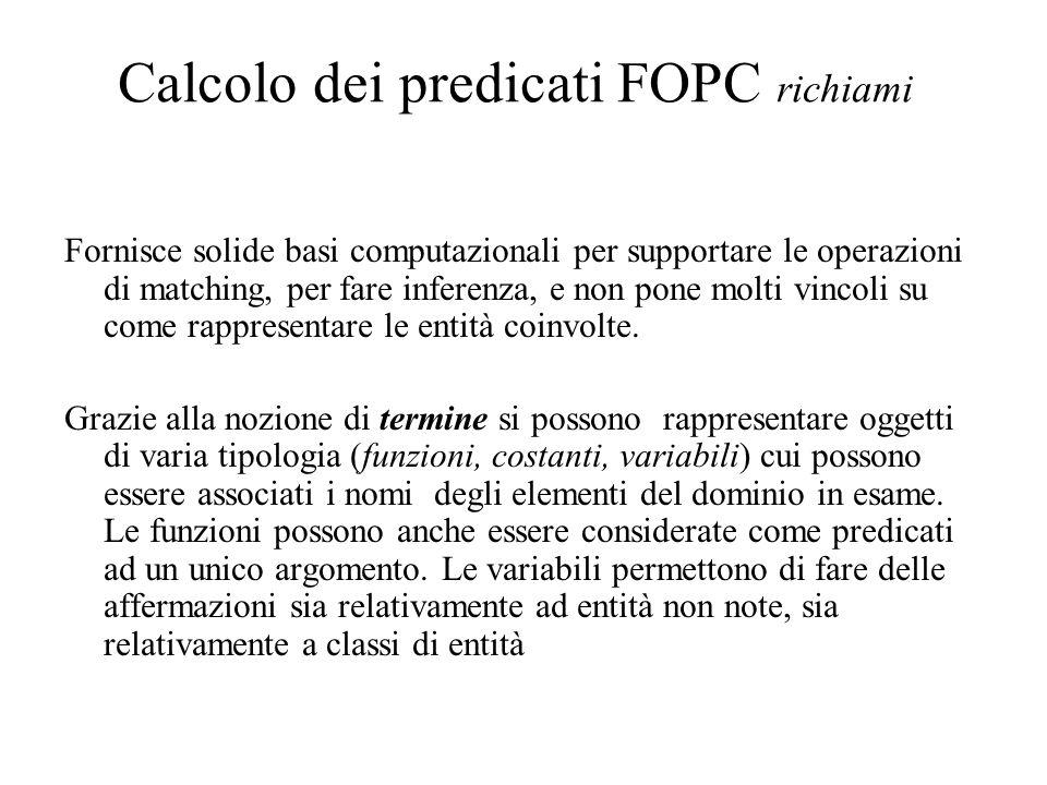 Calcolo dei predicati FOPC richiami