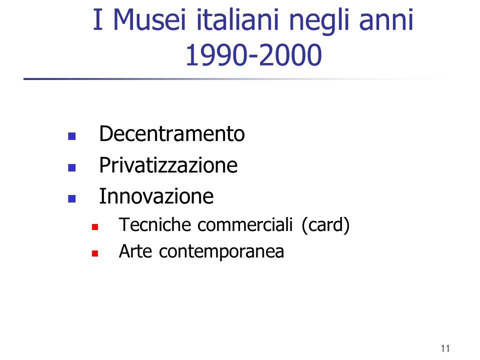 I Musei italiani negli anni 1990-2000