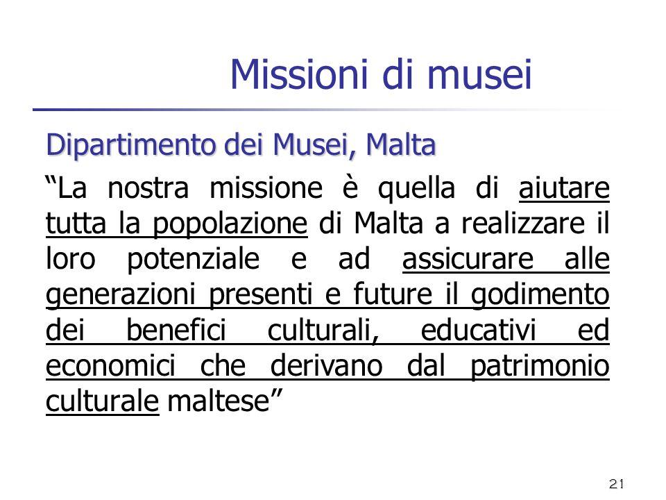 Missioni di musei Dipartimento dei Musei, Malta