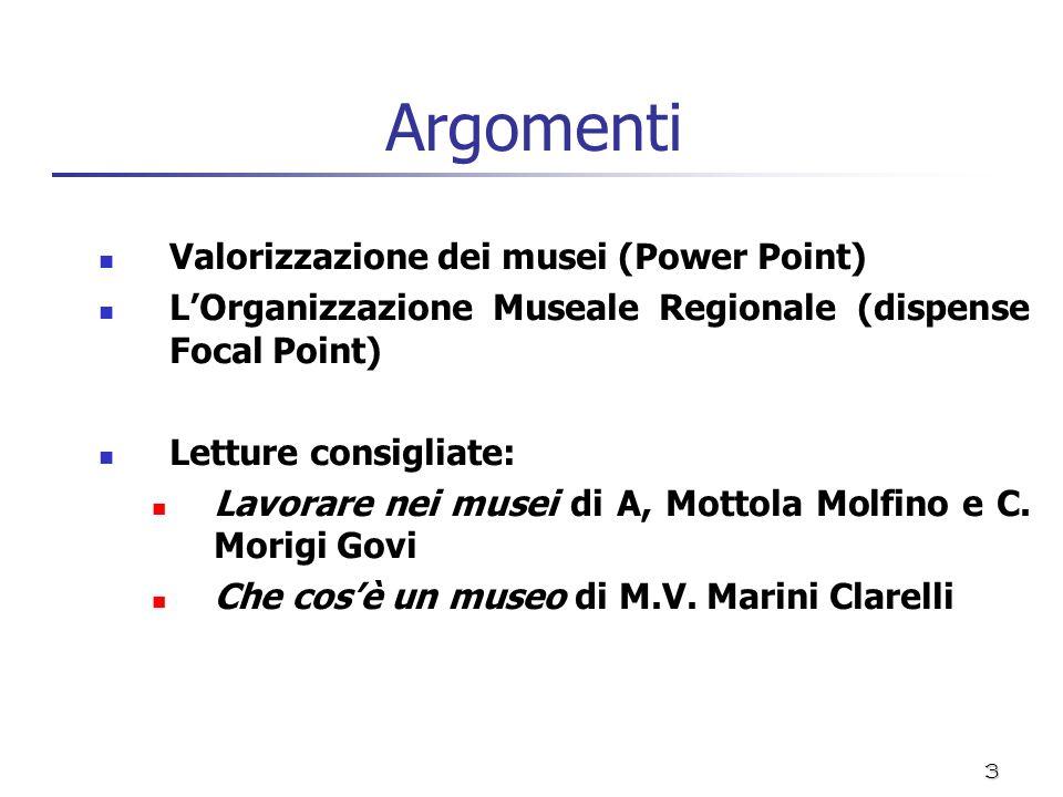 Argomenti Valorizzazione dei musei (Power Point)