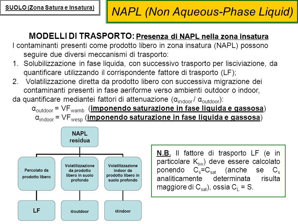 MODELLI DI TRASPORTO: Presenza di NAPL nella zona insatura