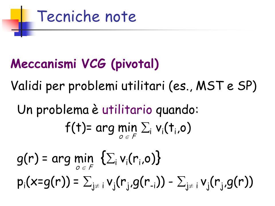 Tecniche note Meccanismi VCG (pivotal)