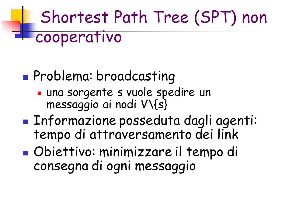 Shortest Path Tree (SPT) non cooperativo