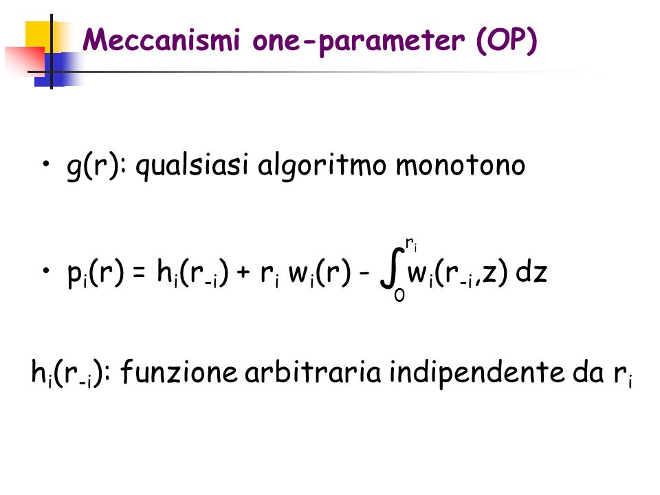 Meccanismi one-parameter (OP)