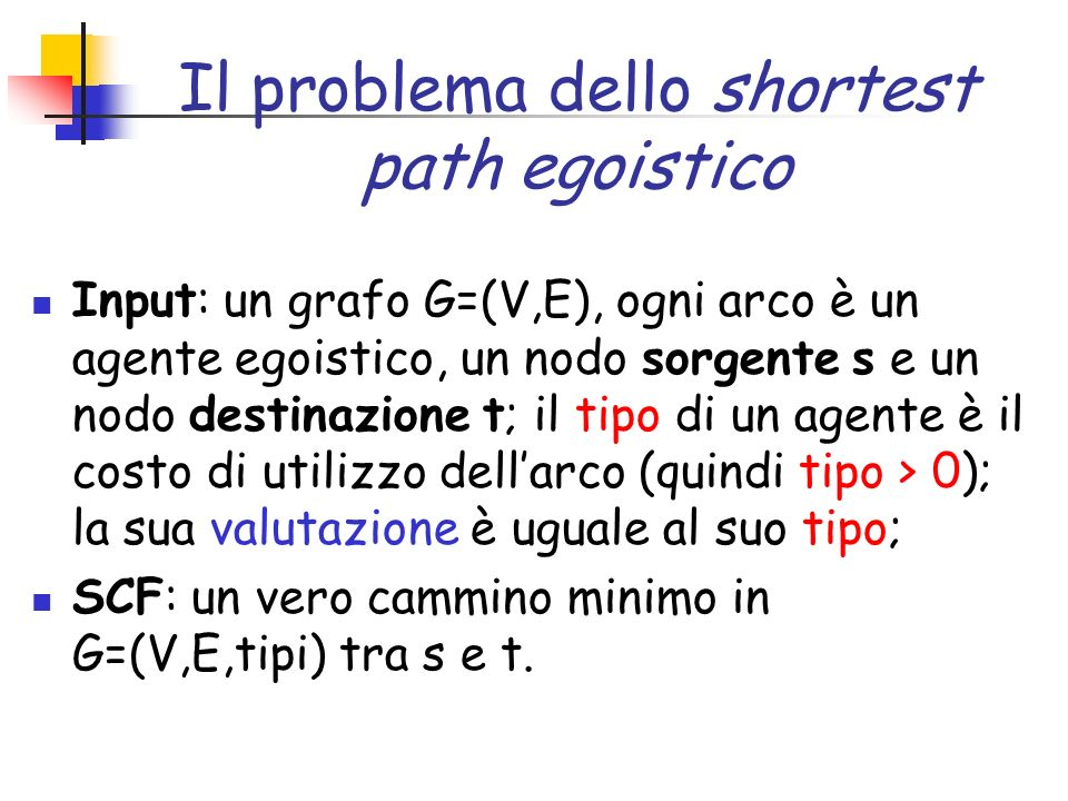 Il problema dello shortest path egoistico