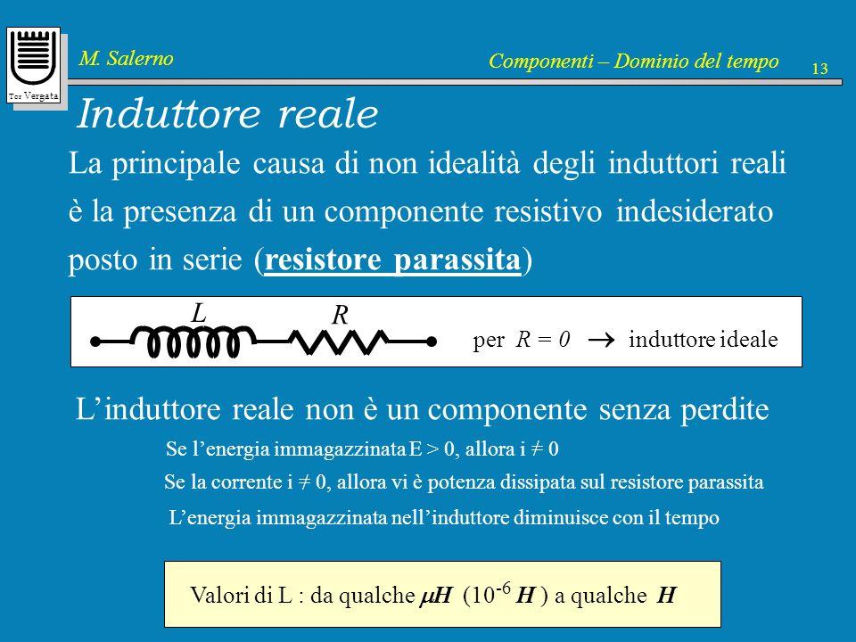 Induttore reale La principale causa di non idealità degli induttori reali. è la presenza di un componente resistivo indesiderato.