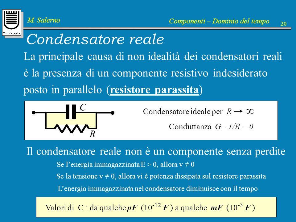 Condensatore reale La principale causa di non idealità dei condensatori reali. è la presenza di un componente resistivo indesiderato.