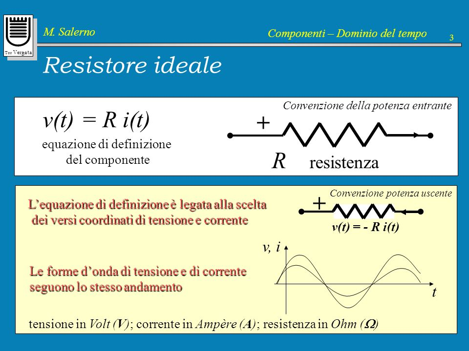 Resistore ideale v(t) = R i(t) + R resistenza + v, i t