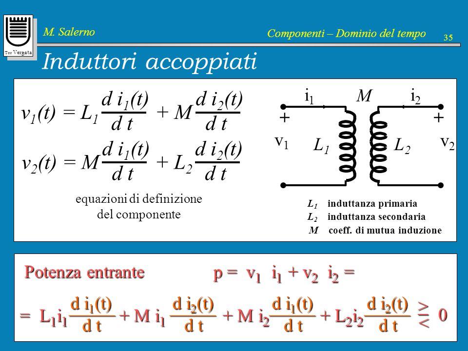 Induttori accoppiati v1(t) = L1 + M d i1(t) d t d i2(t) v2(t) = M + L2