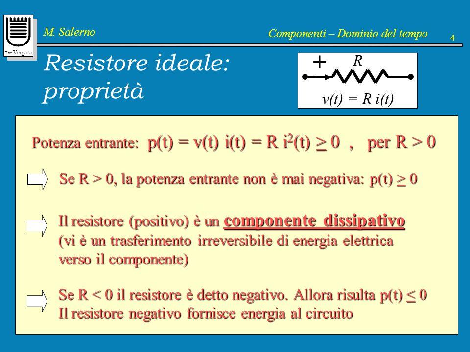 Resistore ideale: proprietà