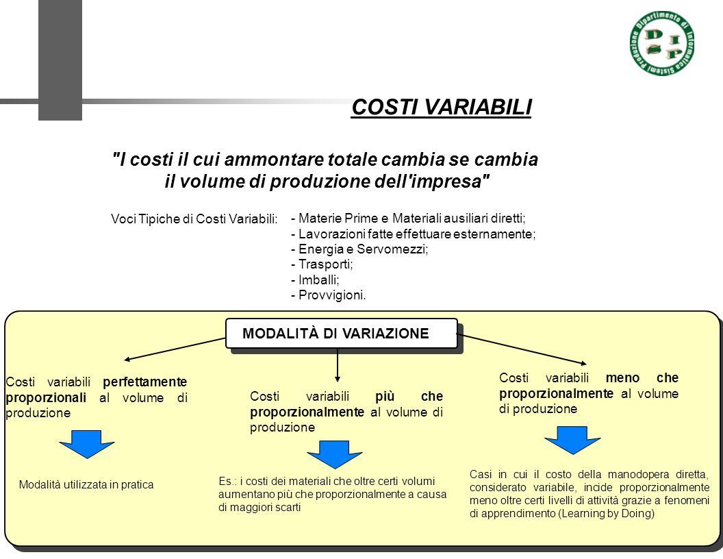 COSTI VARIABILI I costi il cui ammontare totale cambia se cambia