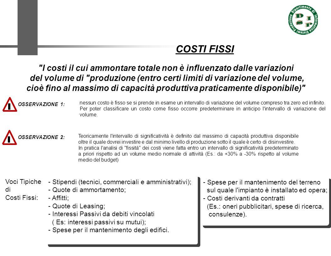 COSTI FISSI I costi il cui ammontare totale non è influenzato dalle variazioni.