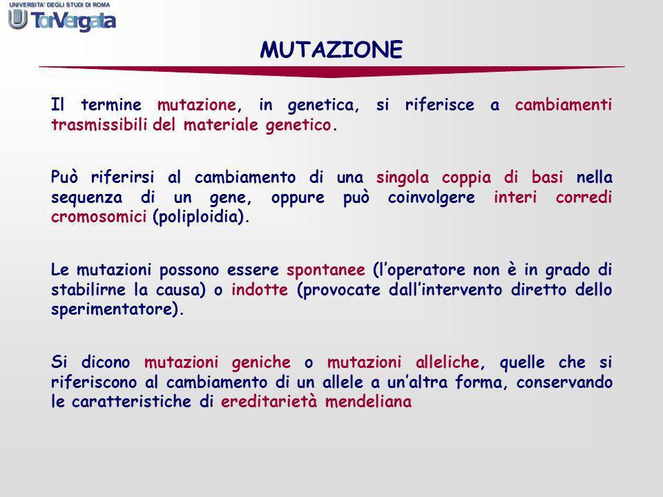 MUTAZIONEIl termine mutazione, in genetica, si riferisce a cambiamenti trasmissibili del materiale genetico.