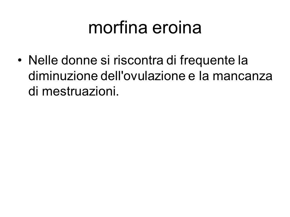 morfina eroina Nelle donne si riscontra di frequente la diminuzione dell ovulazione e la mancanza di mestruazioni.